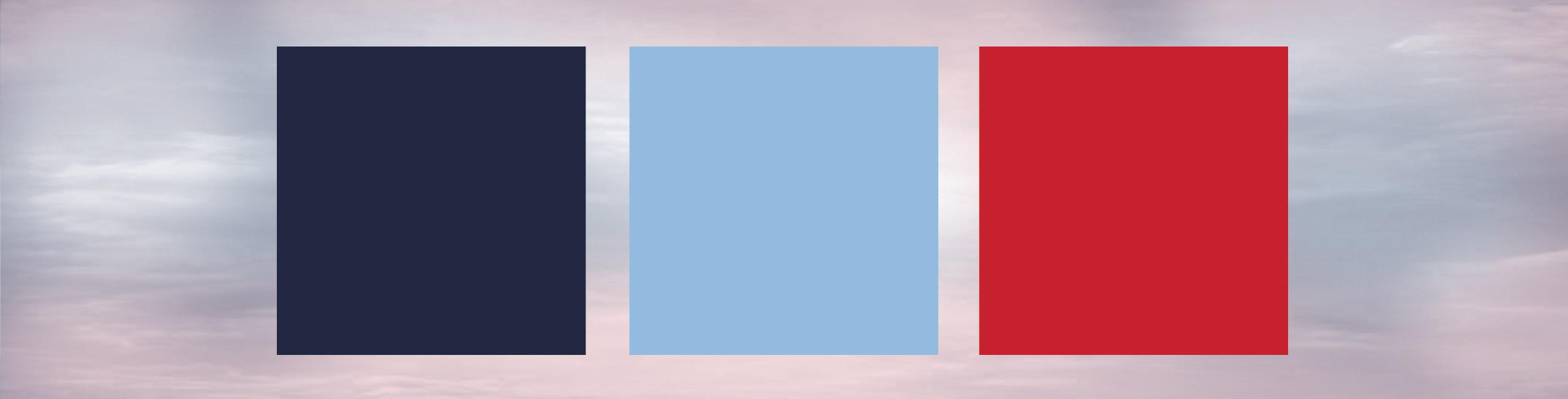 Colori ispirati elle divise doppiopetto quindi rosso, blu, bianco