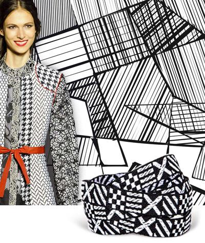 Texture bianche e nere nei nastri per abiti collezione Spring/Summer 2018